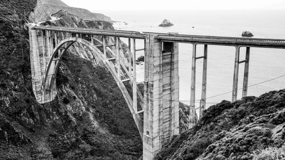 Old Bridge - Monochrome photography wallpaper