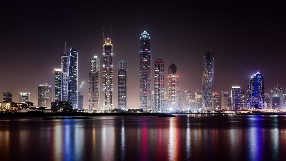 Dubai at night from Business Bay wallpaper