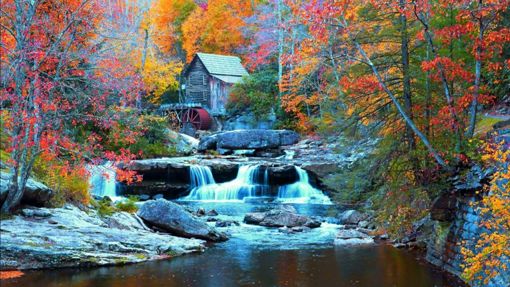 Glade Creek Grist Mill at Babcock State Park wallpaper