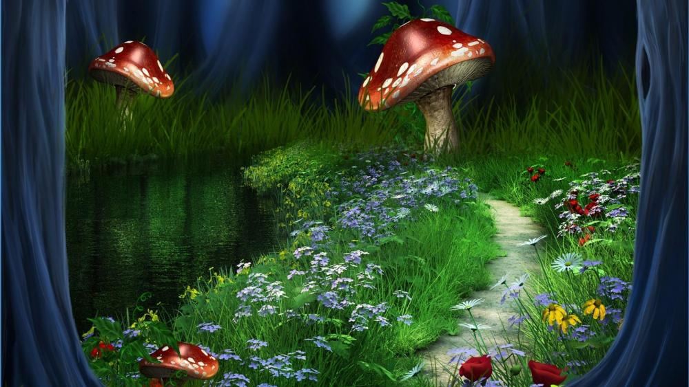 Huge mushrooms on the flower field  - Fantasy art wallpaper