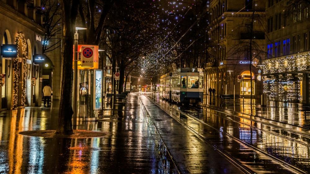 Rainy Christmas in Zürich wallpaper