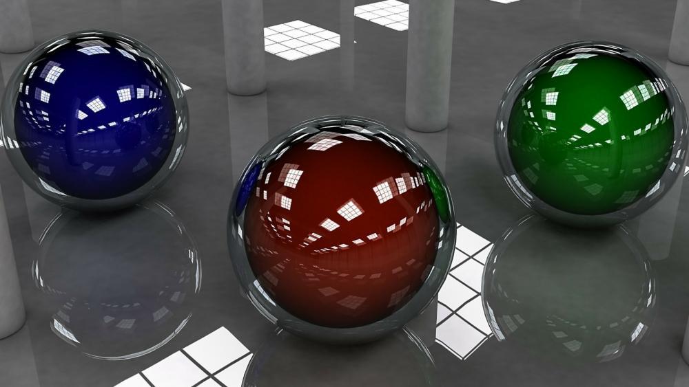 3D balls in helmet wallpaper