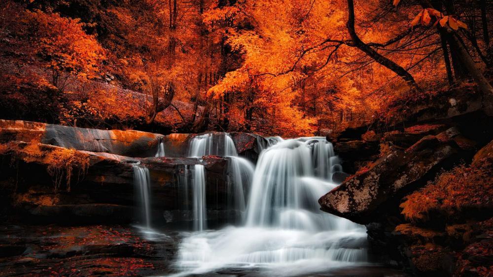 Autumn waterfall  wallpaper