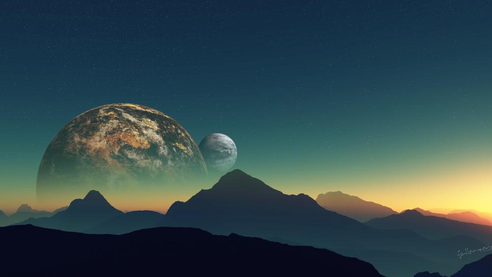 Two moons above the mountain range - Fantasy art wallpaper