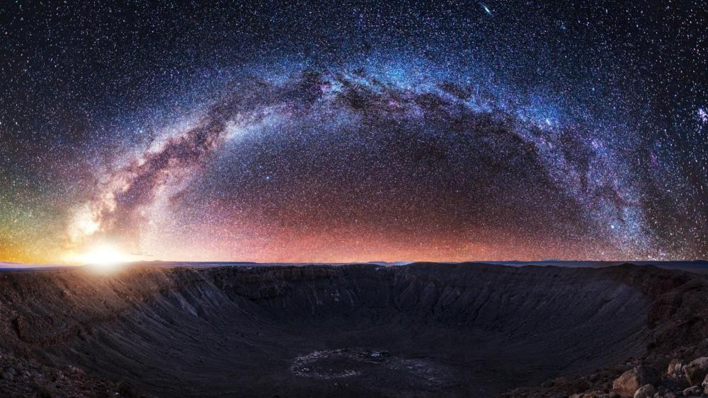 Milky Way over the meteor crater wallpaper