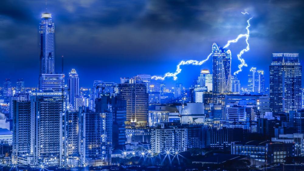 Lightning above Bangkok, Thailand wallpaper