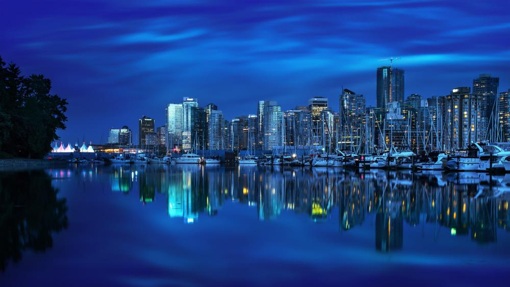 Coal Harbour at night - Vancouver wallpaper