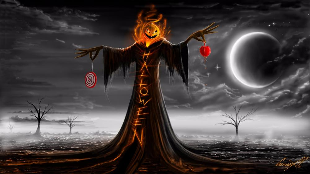 Halloween creepy scarecrow with pumpkin head wallpaper