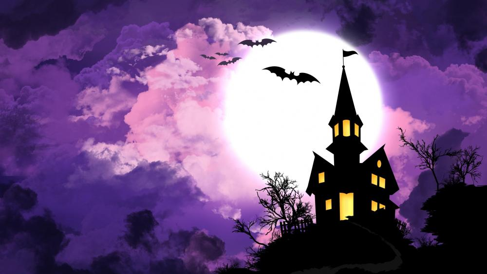 Haunted house with bats - Halloween illustration  wallpaper