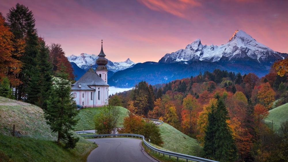 Beautiful autumn forest at the foot of Watzmann - Bavarian Alps wallpaper