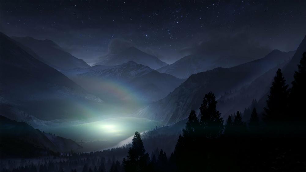 Colorado Rocky Mountains at night wallpaper