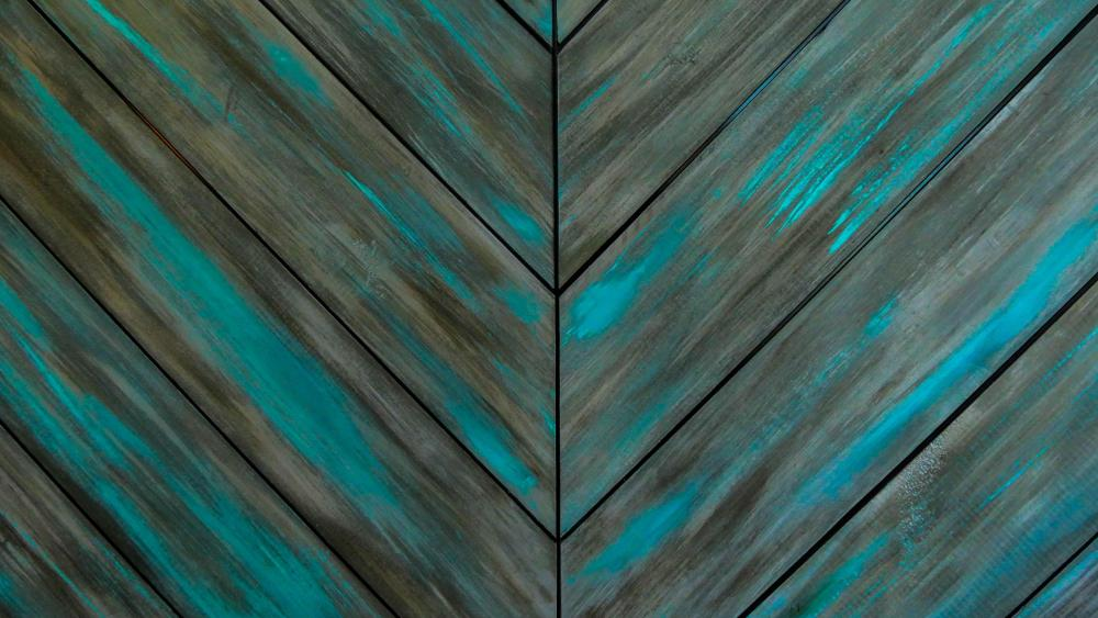 Turquoise wood wall - Abstract art wallpaper