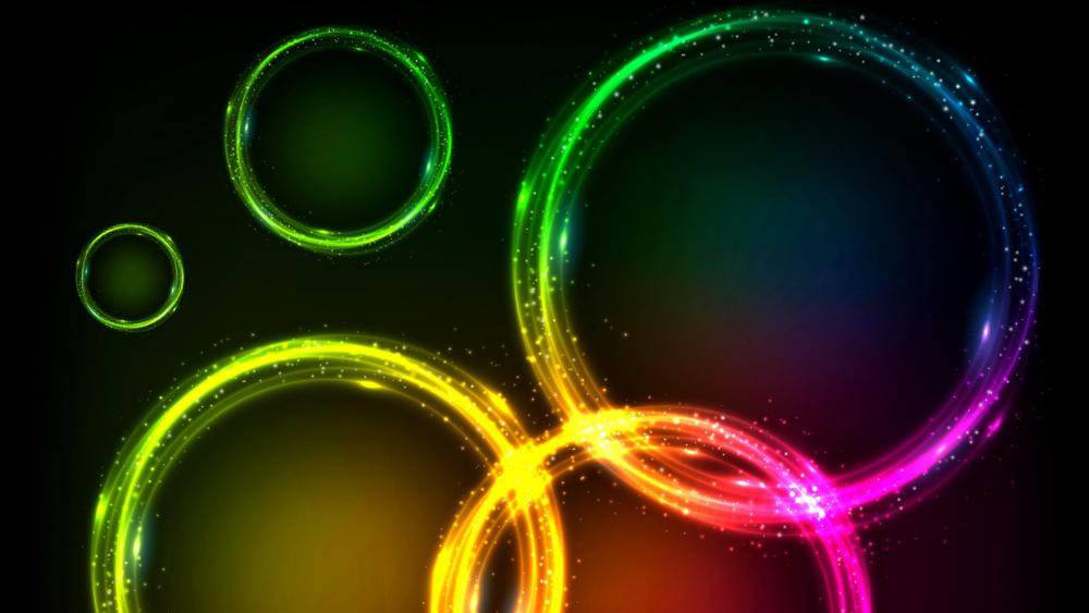 Multicolored abstract neon circles wallpaper