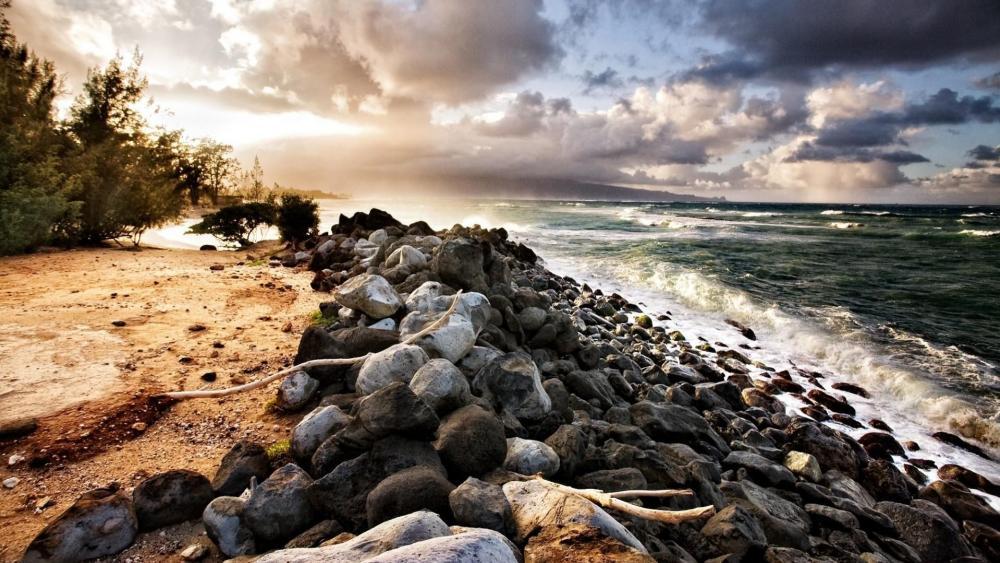 Cloudy beach in Maui, Hawaii wallpaper