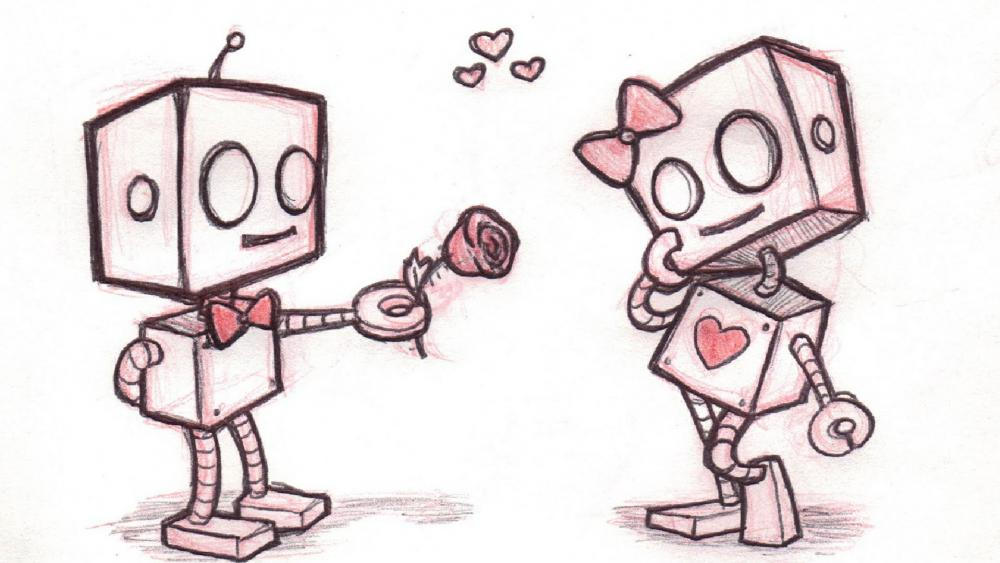 Robot love easy drawing wallpaper