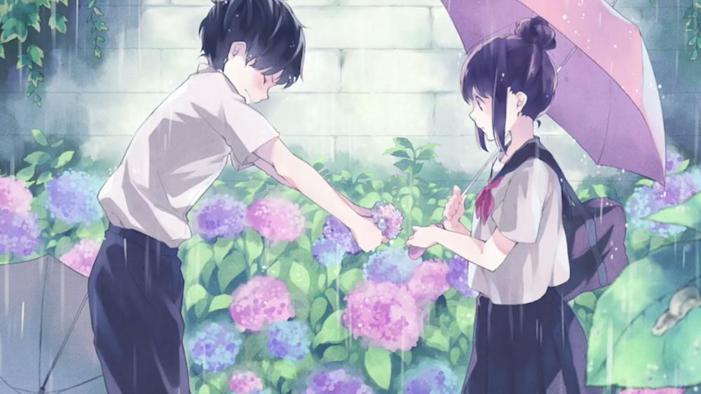 Anime boy giving flowers to girl wallpaper