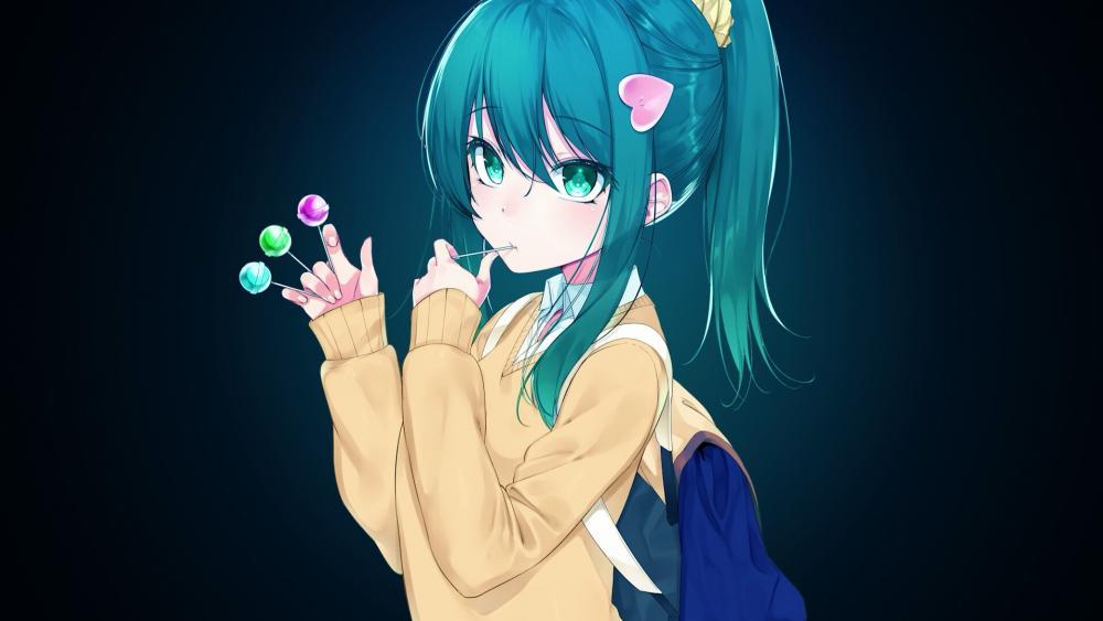 Anime girl with blue hair wallpaper