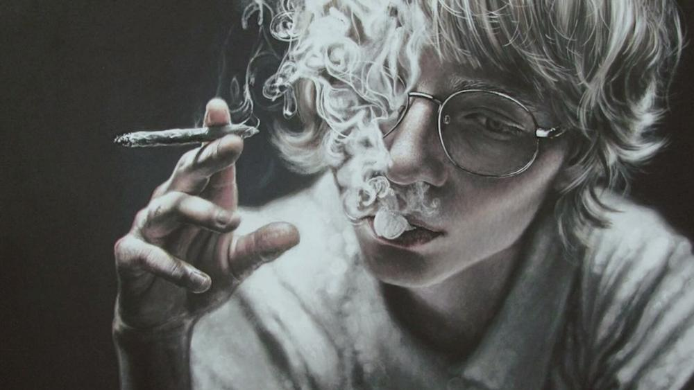 Smoking face portrait - Realistic art wallpaper