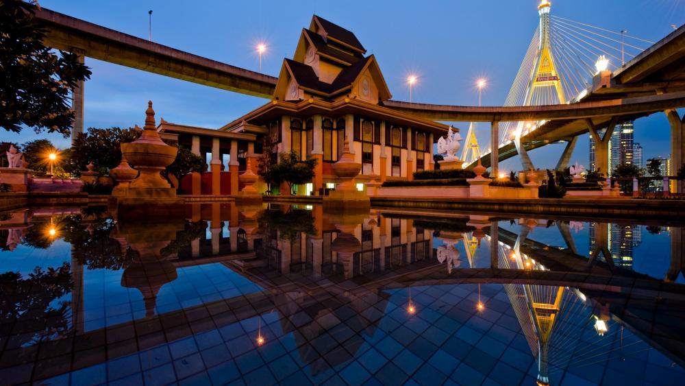 Museum Of Industrial Ring Road Bridge (Bhumibol Bridge) - Lat Pho Park, Samut Prakan, Thailand wallpaper