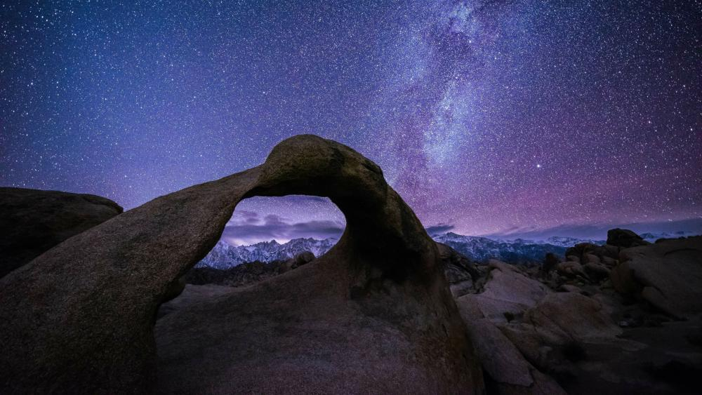 Milky Way over Mobius Arch, Alabama Hills, Lone Pine, California wallpaper