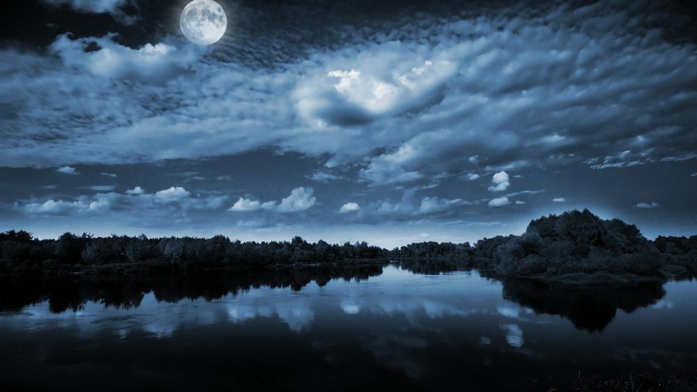 Romantic moonlight over a lake wallpaper