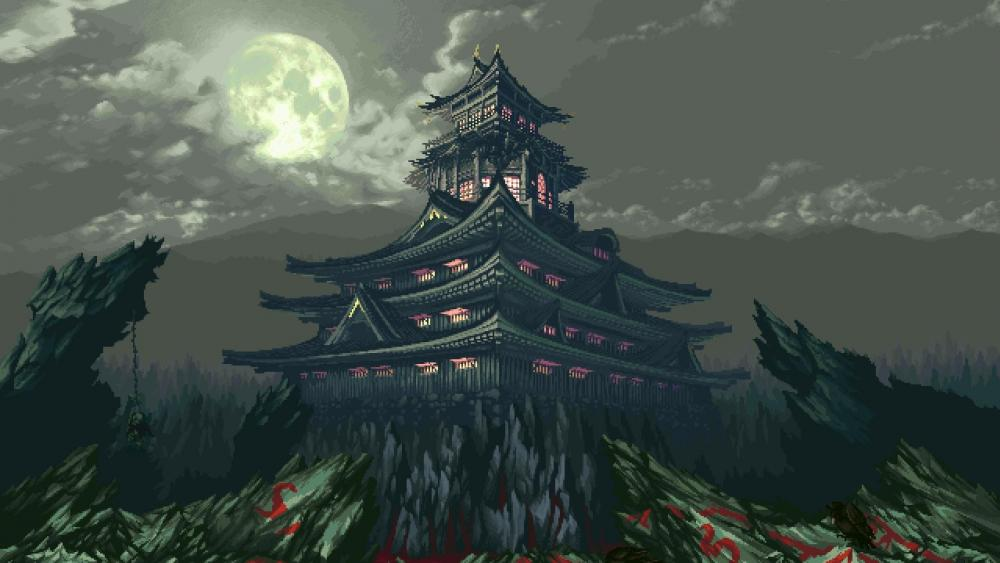 Japanese pagoda under the full moon - Retro pixel art wallpaper