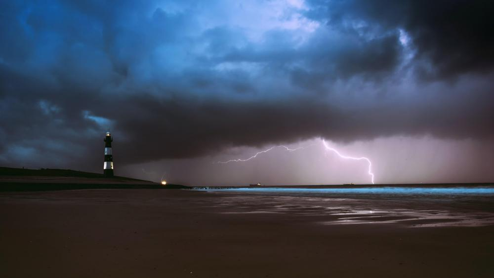 Lighthouse in the storm  wallpaper