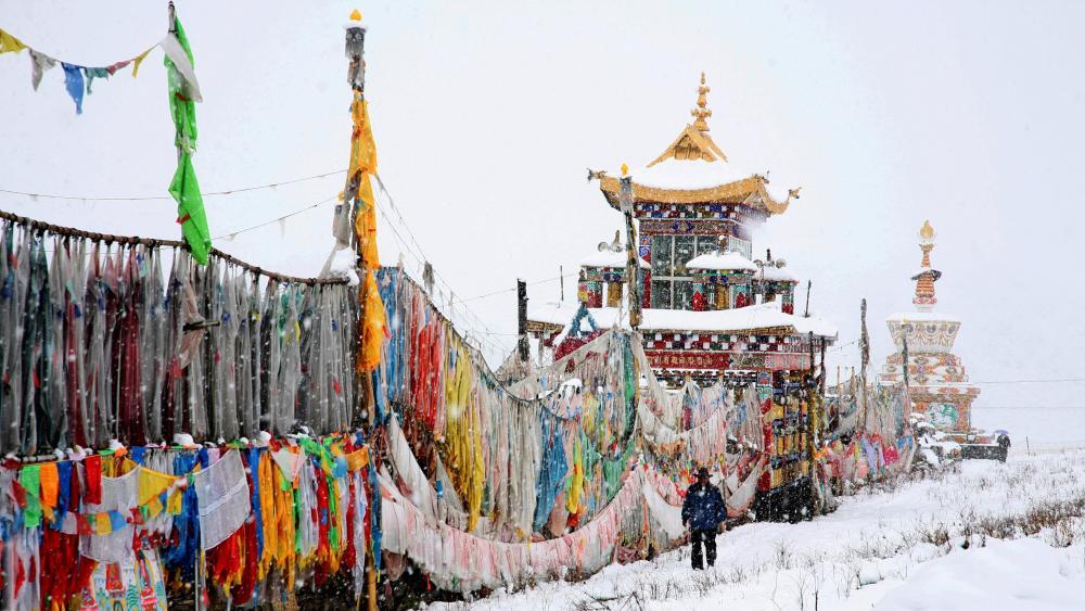 Snowy Shiqu Town - Tibet wallpaper