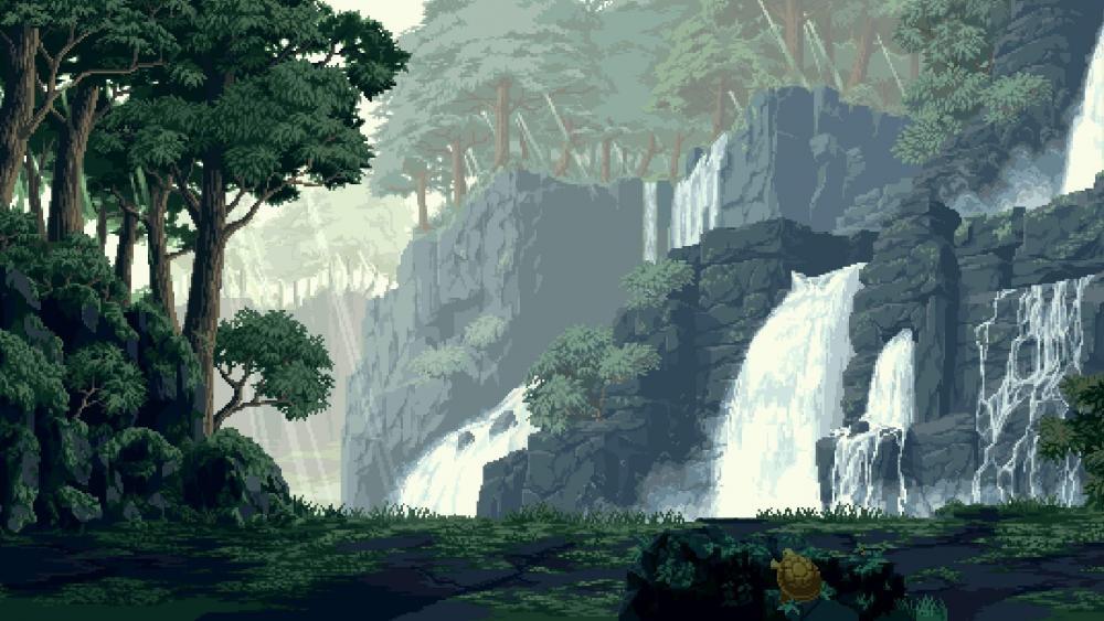 Waterfalls - Pixel art wallpaper