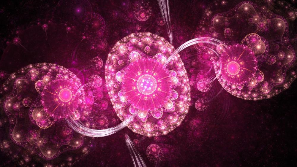 Pink fractal art wallpaper