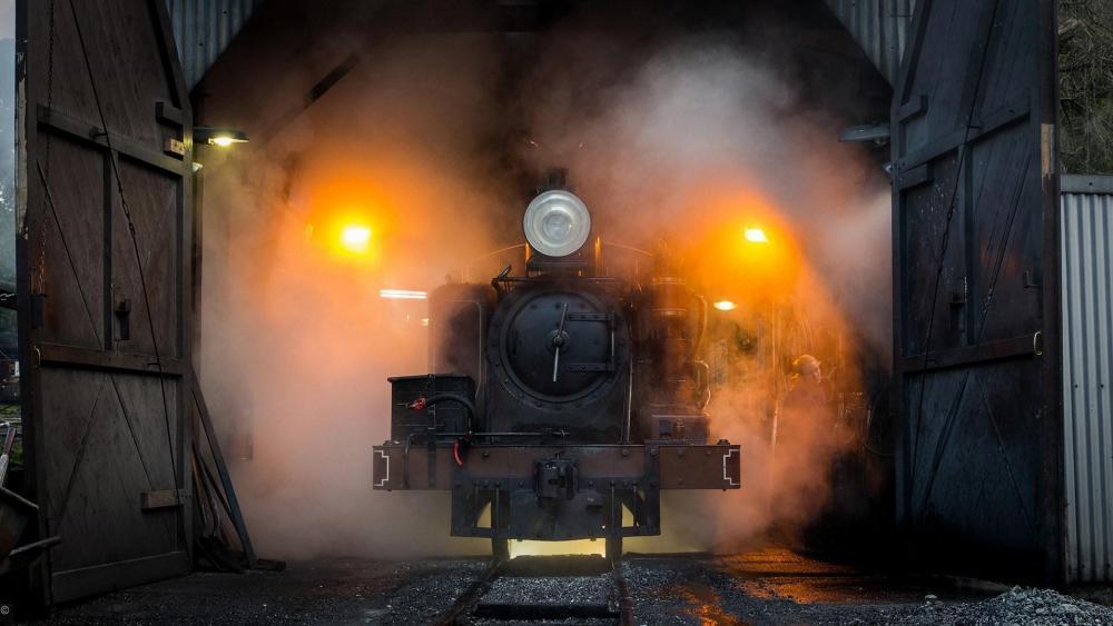 Locomotive in the smoke wallpaper