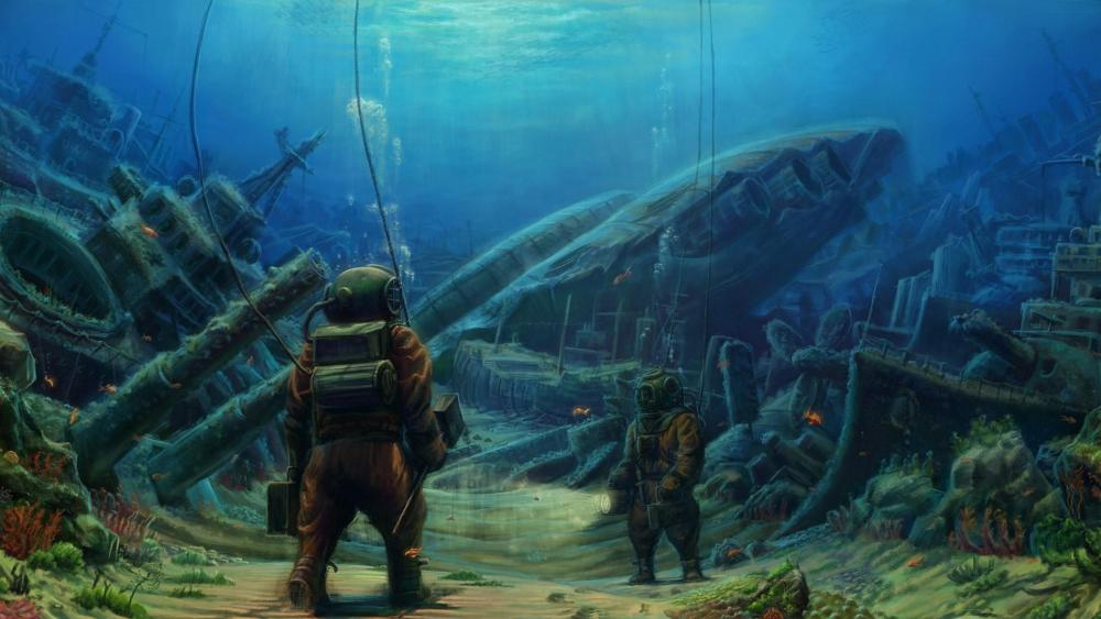 Deep sea diving - Fantasy art wallpaper
