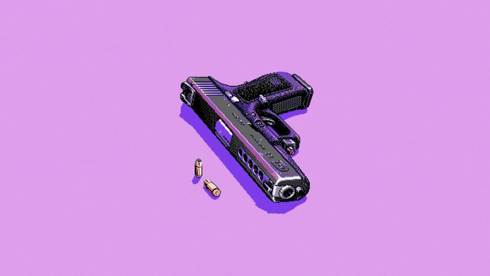Pixel art gun wallpaper