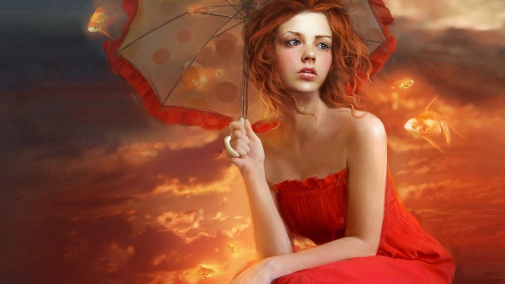 Red dresse girl - Fantasy art wallpaper