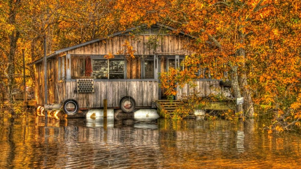 Floating camp on the Ouachita River - Louisiana wallpaper
