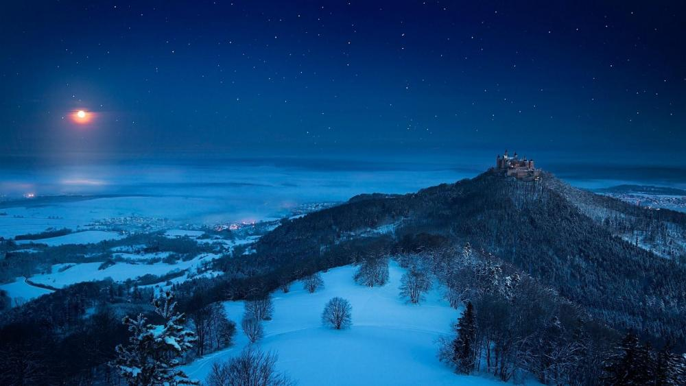 Hohenzollern Castle at night wallpaper