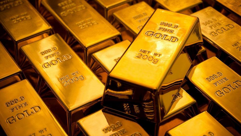 Shining gold bars wallpaper