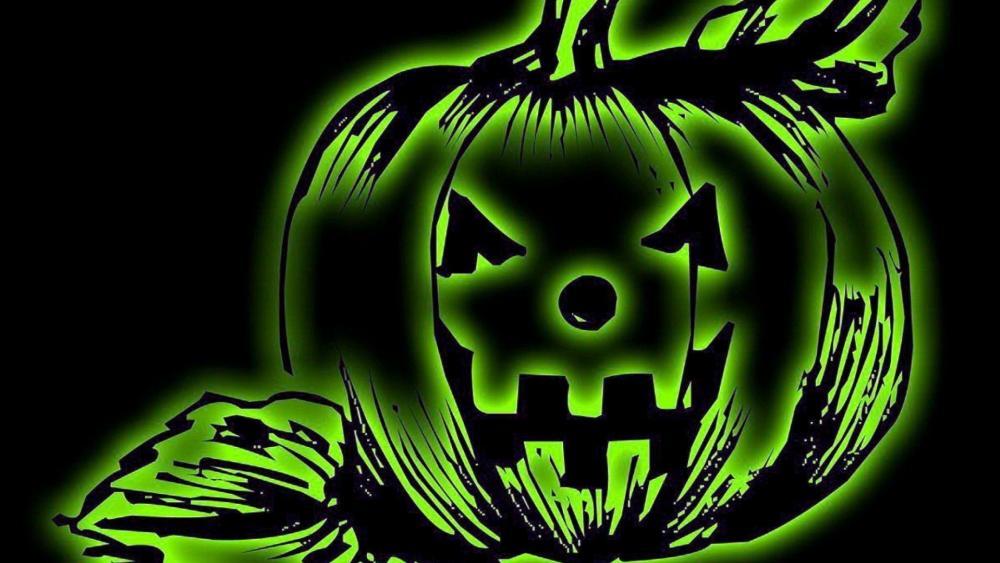 Green Halloween pumpkin wallpaper