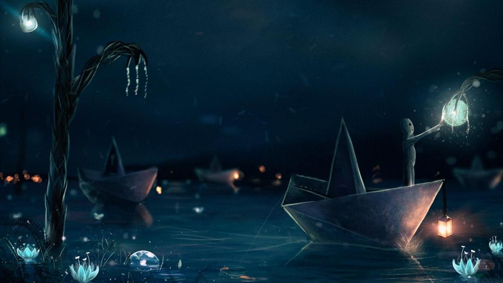 Fairytale paper boat at night wallpaper