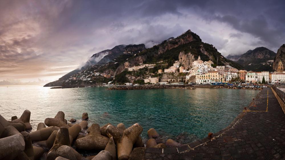 Amalfi city at the Amalfi coast - Italy wallpaper