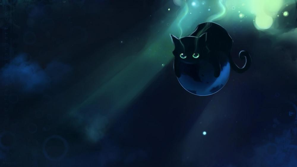 Black space cat wallpaper