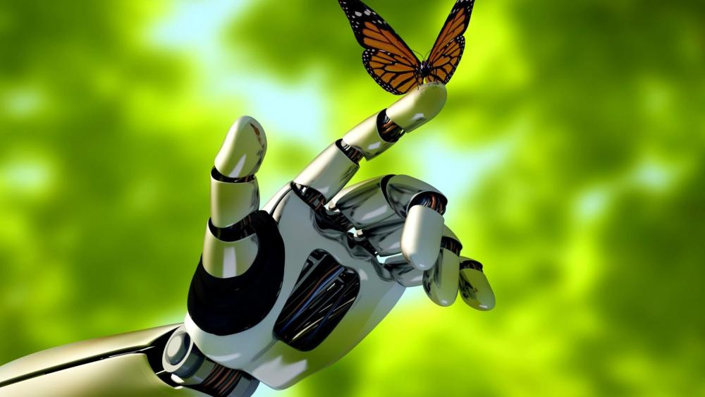 Robot with a butterfly wallpaper
