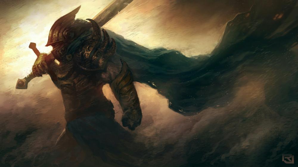 Warrior with a sword - Fantasy art wallpaper