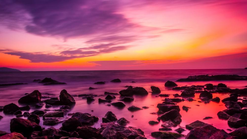 Turkish sunset with orange and pink sky wallpaper