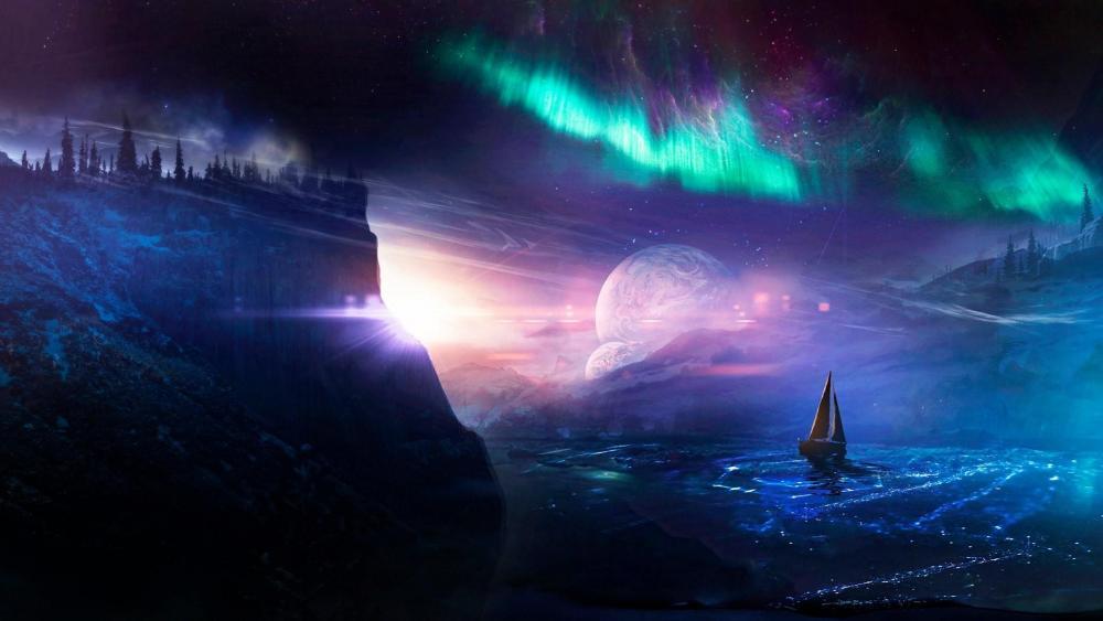 Sailboat under the Aurora Borealis - Fantasy art wallpaper