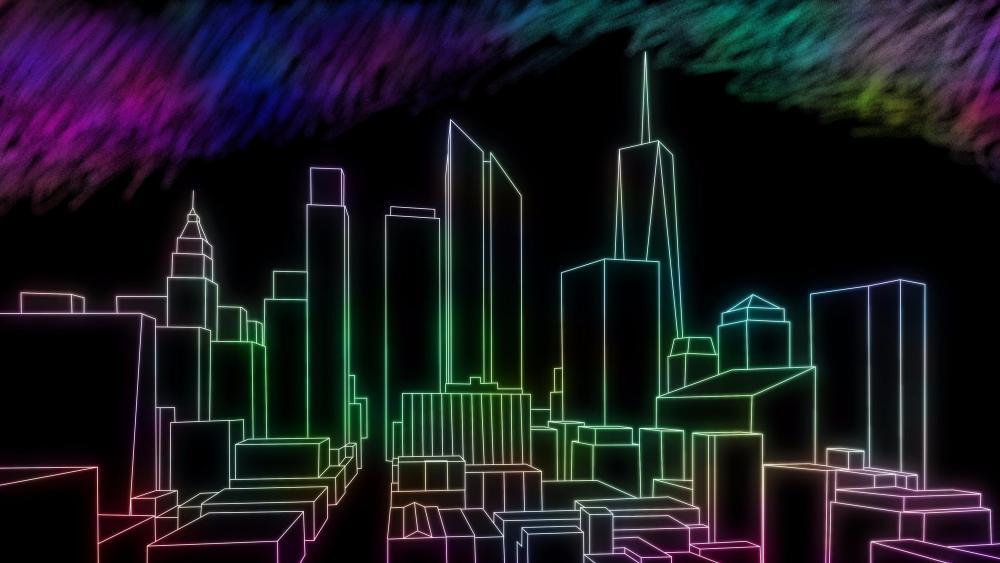 Skyscrapers - Neon digital art wallpaper