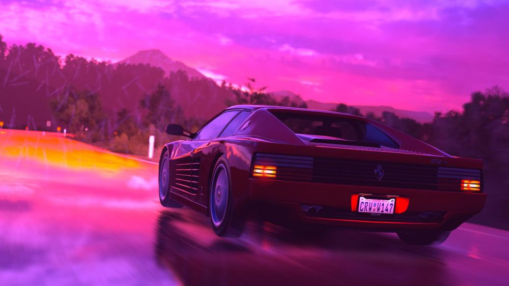 Ferrari Testarossa - Neon design wallpaper