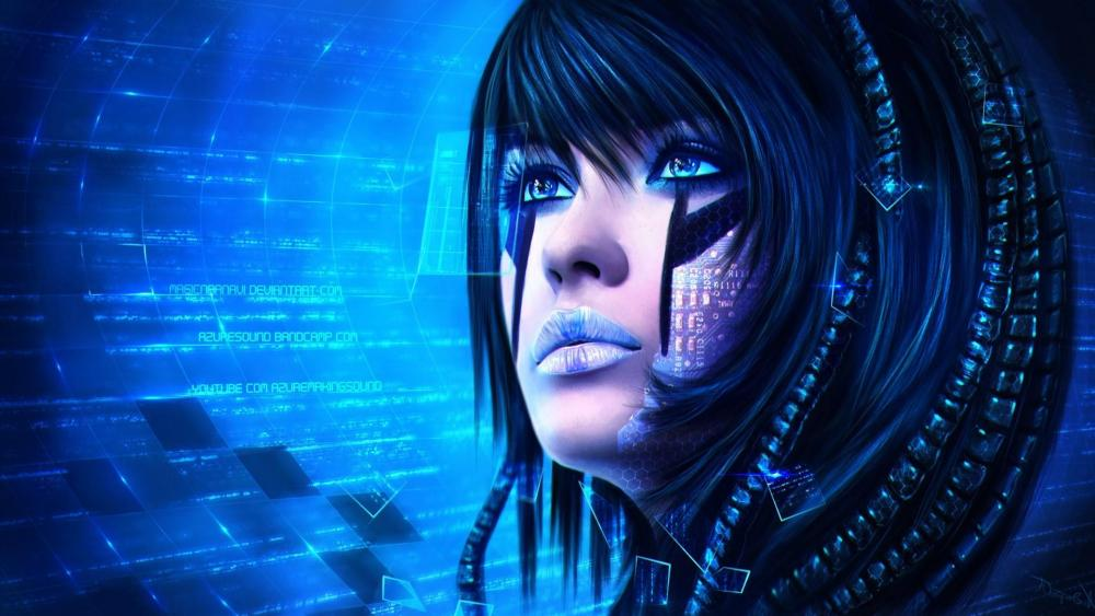 Woman cyborg - Fantasy art wallpaper