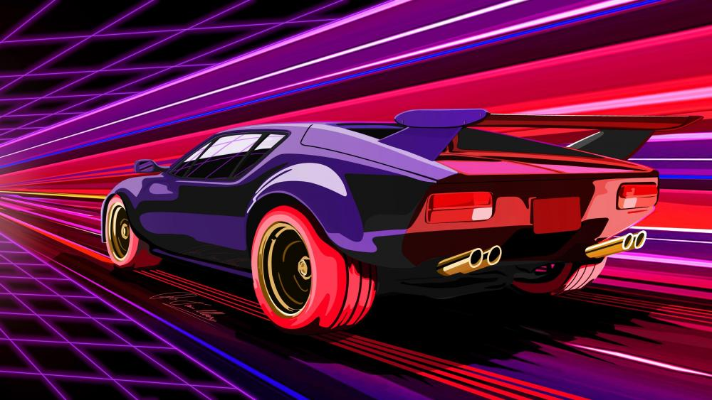 Retrowave car wallpaper
