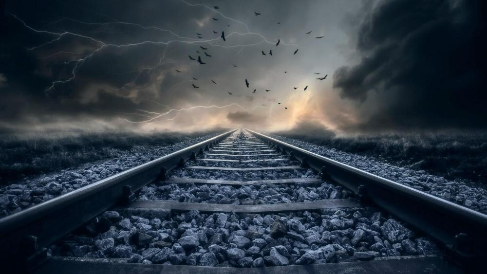 Storm and rail wallpaper